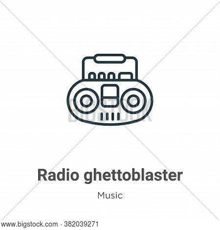 Radio ghettoblaster icon isolated on white background from music collection. Radio ghettoblaster ico