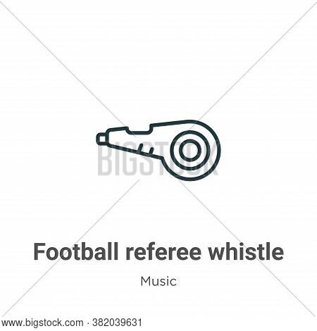 Football referee whistle icon isolated on white background from music collection. Football referee w