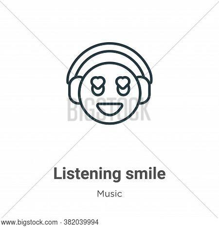 Listening smile icon isolated on white background from music collection. Listening smile icon trendy