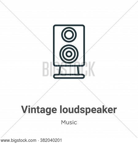 Vintage loudspeaker icon isolated on white background from music collection. Vintage loudspeaker ico