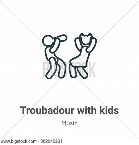 Troubadour with kids icon isolated on white background from music collection. Troubadour with kids i