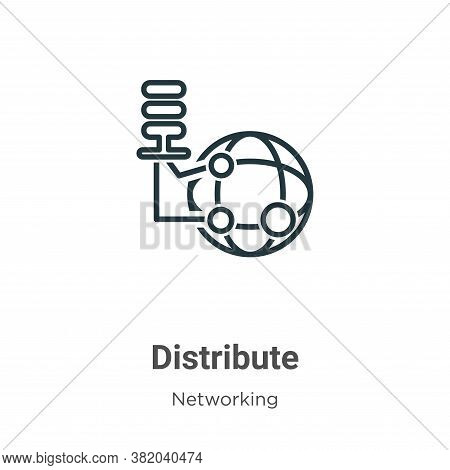 Distribute icon isolated on white background from networking collection. Distribute icon trendy and