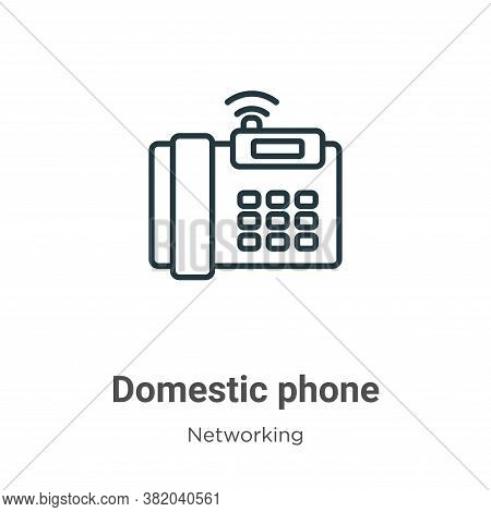 Domestic phone icon isolated on white background from networking collection. Domestic phone icon tre