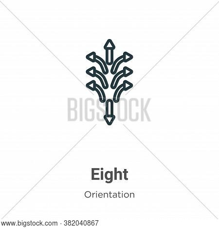 Eight icon isolated on white background from orientation collection. Eight icon trendy and modern Ei