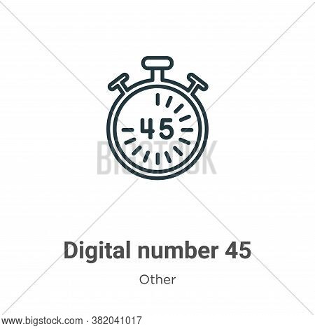 Digital number 45 icon isolated on white background from other collection. Digital number 45 icon tr