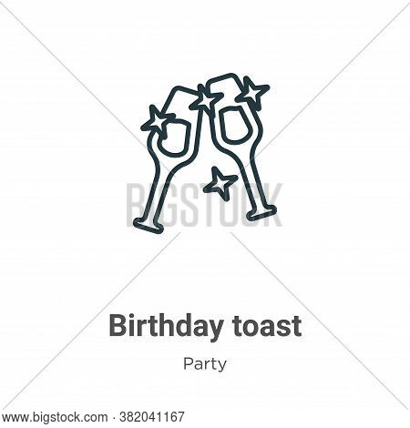 Birthday toast icon isolated on white background from party collection. Birthday toast icon trendy a