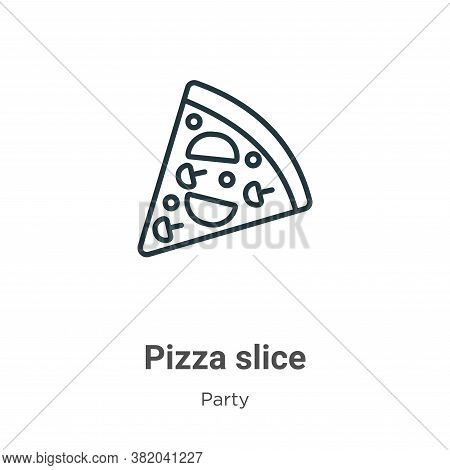 Pizza slice icon isolated on white background from party collection. Pizza slice icon trendy and mod