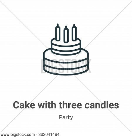 Cake with three candles icon isolated on white background from party collection. Cake with three can