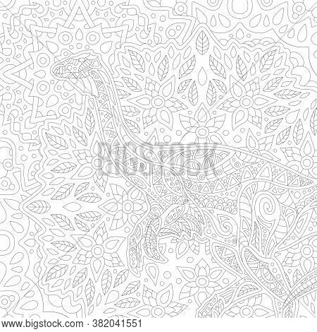 Beautiful Black And White Illustration For Adult Coloring Book With Square Linear Pattern With Decor