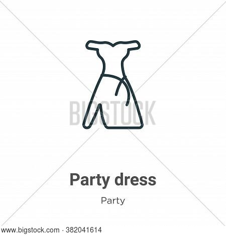 Party dress icon isolated on white background from party collection. Party dress icon trendy and mod