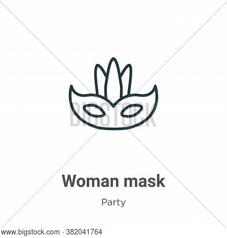 Woman mask icon isolated on white background from party collection. Woman mask icon trendy and moder
