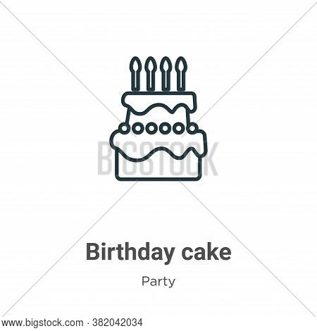Birthday cake icon isolated on white background from party collection. Birthday cake icon trendy and