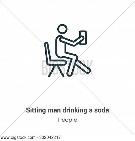 Sitting man drinking a soda icon isolated on white background from people collection. Sitting man dr