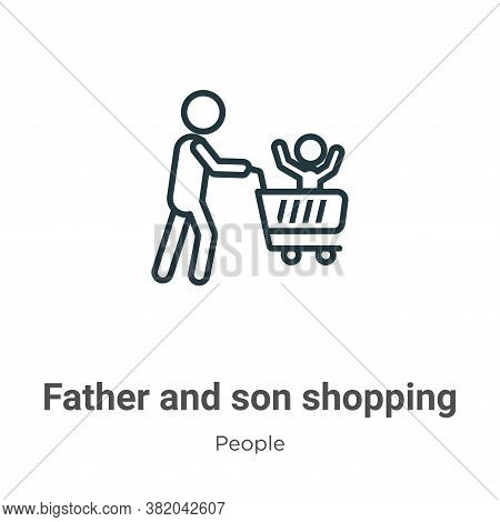 Father and son shopping icon isolated on white background from people collection. Father and son sho