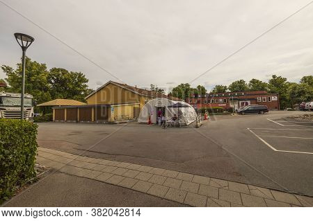 Landscape View Of Temporary Outdoor Medical Center For Taking Covid-19 Test. 08.20.2020. Uppsala. Sw