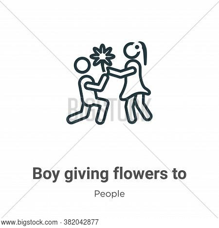 Boy giving flowers to his girlfriend icon isolated on white background from people collection. Boy g