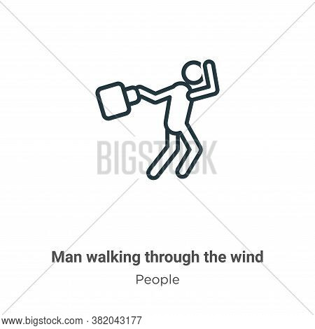 Man Walking Through The Wind Icon From People Collection Isolated On White Background.