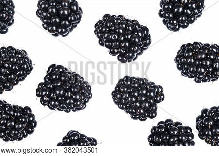Isolated Blackberries. Blackberry Fruits Isolated Over White Background With Clipping Path. Macro Sh