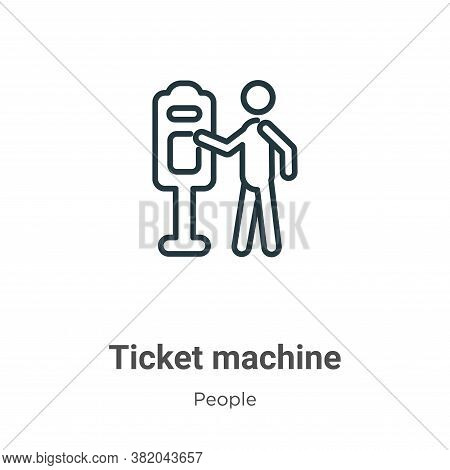Ticket machine icon isolated on white background from people collection. Ticket machine icon trendy