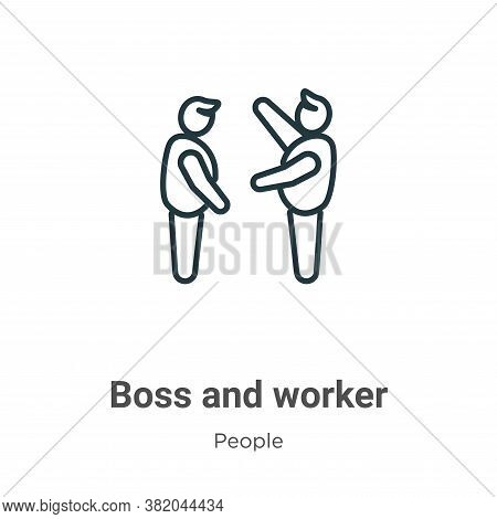 Boss and worker icon isolated on white background from people collection. Boss and worker icon trend