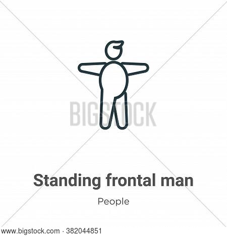 Standing frontal man icon isolated on white background from people collection. Standing frontal man