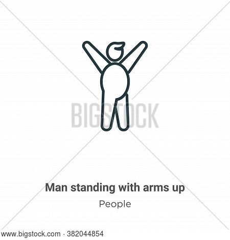 Man standing with arms up icon isolated on white background from people collection. Man standing wit