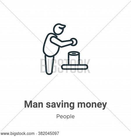 Man saving money icon isolated on white background from people collection. Man saving money icon tre
