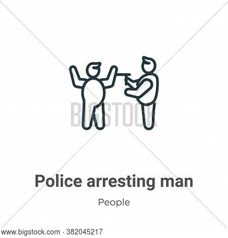 Police arresting man icon isolated on white background from people collection. Police arresting man