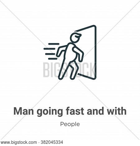 Man going fast and with force against a door icon isolated on white background from  collection. Man