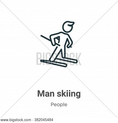 Man skiing icon isolated on white background from people collection. Man skiing icon trendy and mode