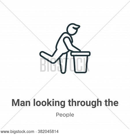 Man Looking Through The Garbage Container Icon From People Collection Isolated On White Background.