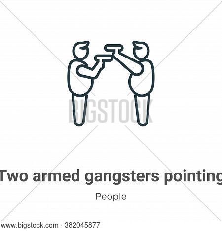 Two armed gangsters pointing each other with their arms icon isolated on white background from  coll
