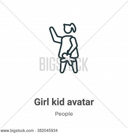Girl kid avatar icon isolated on white background from people collection. Girl kid avatar icon trend