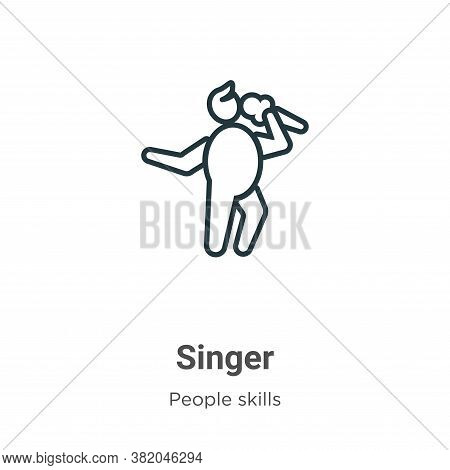 Singer icon isolated on white background from people skills collection. Singer icon trendy and moder