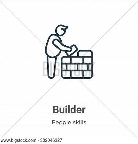Builder icon isolated on white background from people skills collection. Builder icon trendy and mod