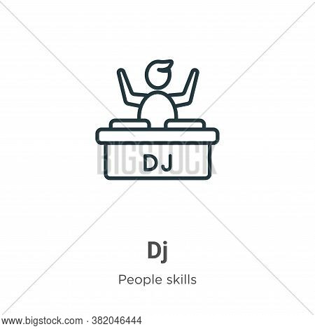 Dj icon isolated on white background from people skills collection. Dj icon trendy and modern Dj sym