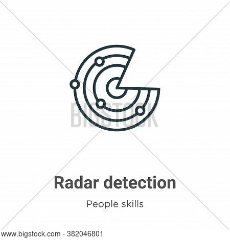 Radar detection icon isolated on white background from people skills collection. Radar detection ico