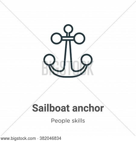 Sailboat anchor icon isolated on white background from people skills collection. Sailboat anchor ico