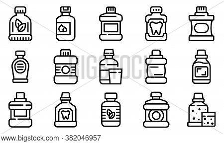 Mouthwash Icons Set. Outline Set Of Mouthwash Vector Icons For Web Design Isolated On White Backgrou
