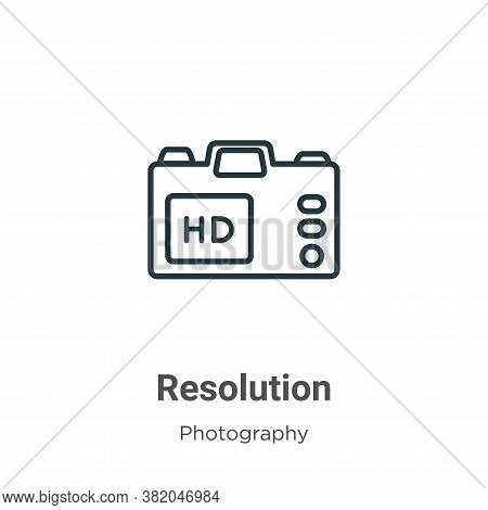 Resolution icon isolated on white background from photography collection. Resolution icon trendy and