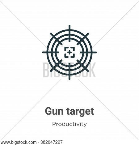 Gun target icon isolated on white background from productivity collection. Gun target icon trendy an