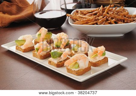 Tray Of Shrimp Canapes