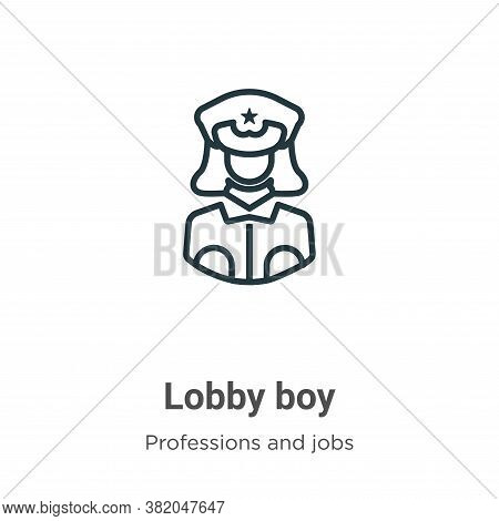 Lobby boy icon isolated on white background from professions and jobs collection. Lobby boy icon tre
