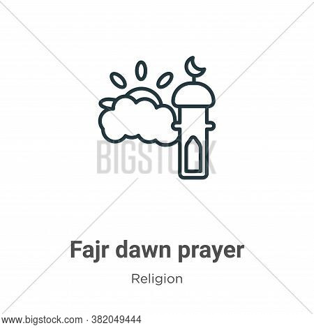 Fajr dawn prayer icon isolated on white background from religion collection. Fajr dawn prayer icon t