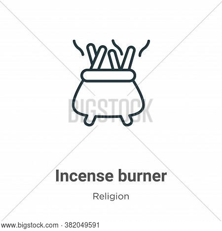 Incense burner icon isolated on white background from religion collection. Incense burner icon trend