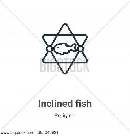 Inclined fish icon isolated on white background from religion collection. Inclined fish icon trendy