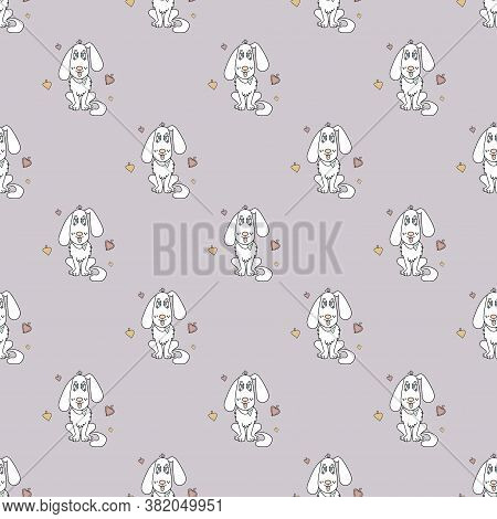 Seamless Pattern With A Cute Animal - A White Dog With His Tongue Hanging Out And Hearts On A Light