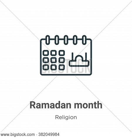 Ramadan month icon isolated on white background from religion collection. Ramadan month icon trendy