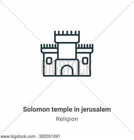 Solomon temple in jerusalem icon isolated on white background from religion collection. Solomon temp