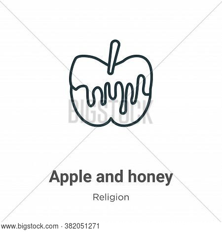 Apple and honey icon isolated on white background from religion collection. Apple and honey icon tre